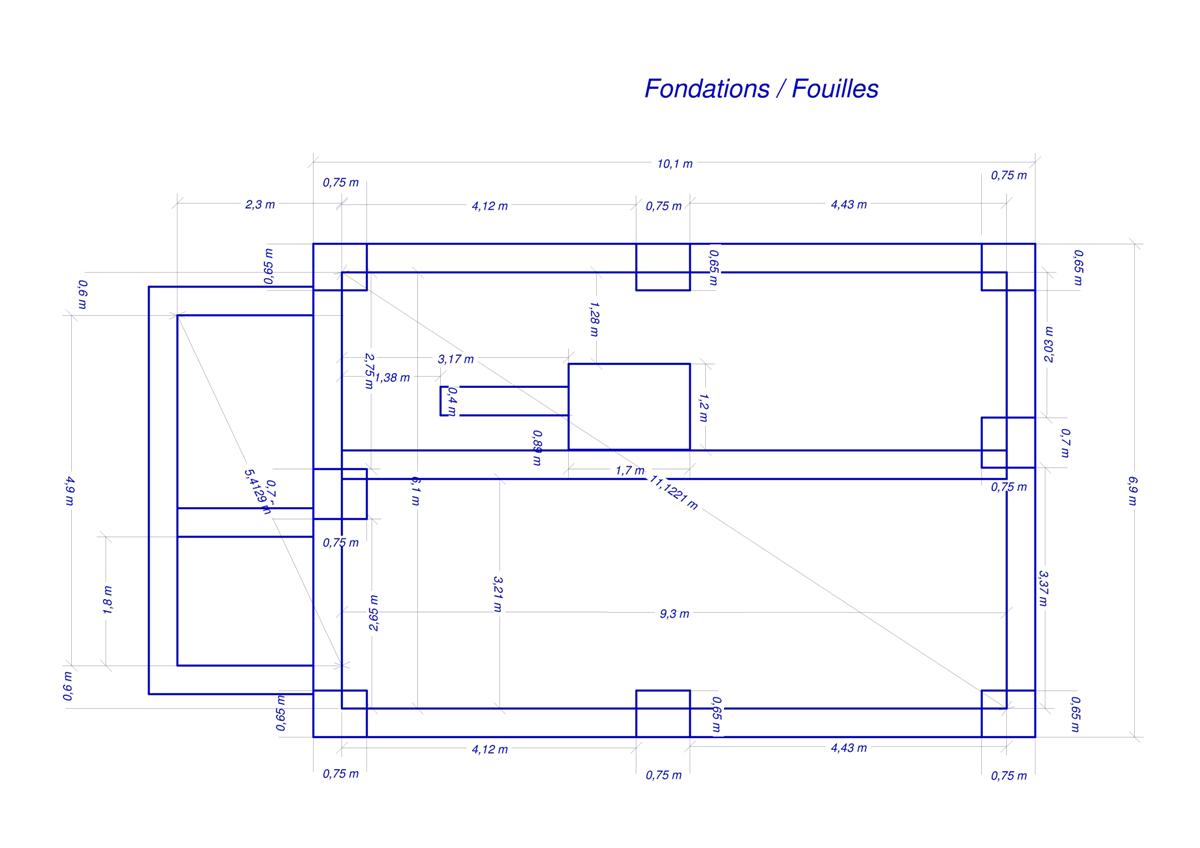 D but des fondations conception et fouilles maison for Abrite des plans et des plans