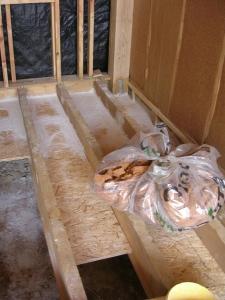 Création des caissons du plancher et chaulage